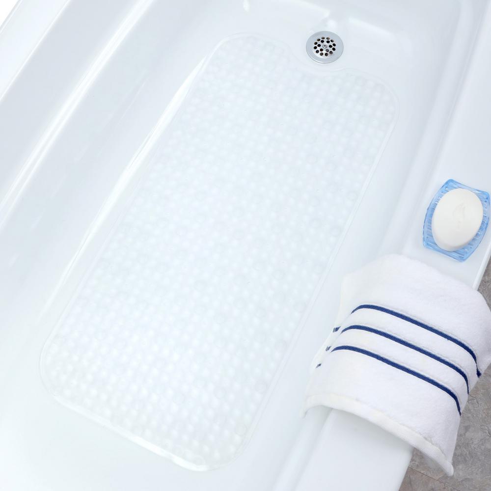 15.5 in. x 32 in. Prism Bath Mat in Clear