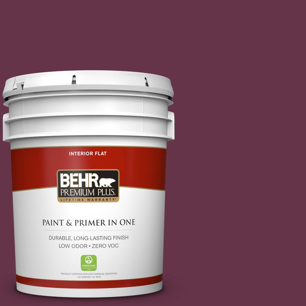 BEHR Premium Plus 5 gal. #110D-7 Vin Rouge Zero VOC Flat Interior Paint, Reds/Pinks
