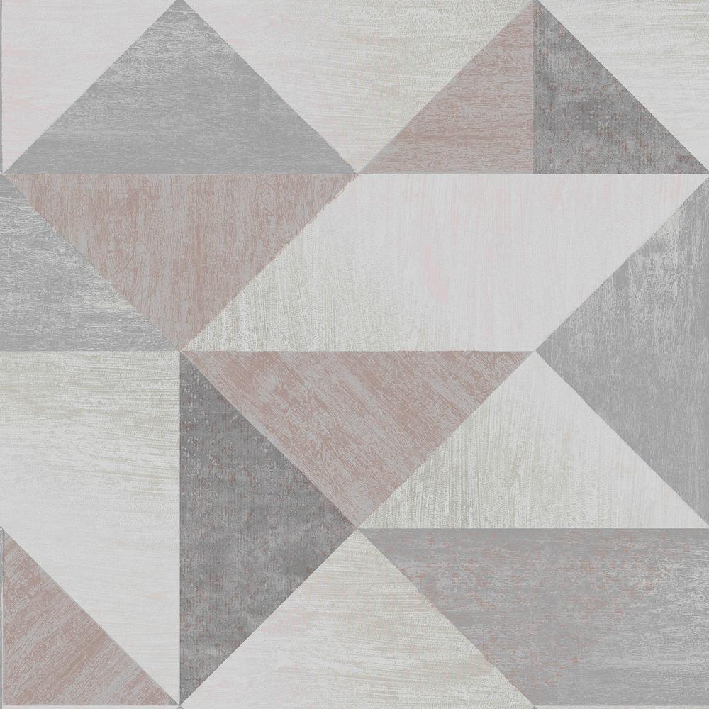 Brewster Exeter Grey Geometric Wallpaper Sample 2734-42435SAM