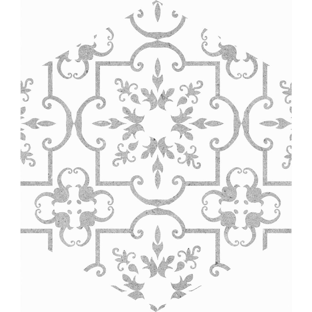 Carrara Hexagon Decorative 9.6 in. x 11 in. Matte Glazed Porcelain