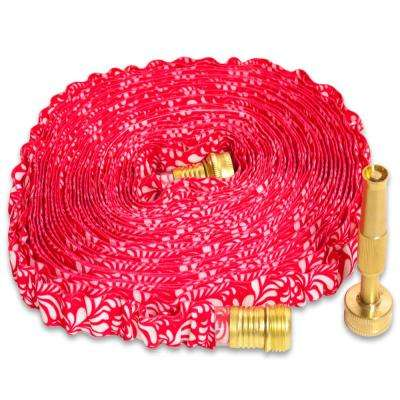 50 ft. HydroHose Deigner Series with Adjustable Brass Nozzle, Red Floral