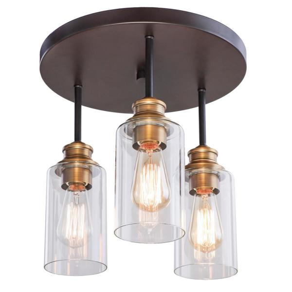 Solero 13 in. 3-Light Bronze and Antique Brass Flush Mount with Clear Shades