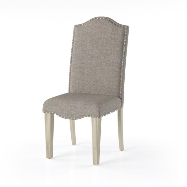 Larkin Antique White Nailhead Trim Upholstered Dining Chair (Set of 2)