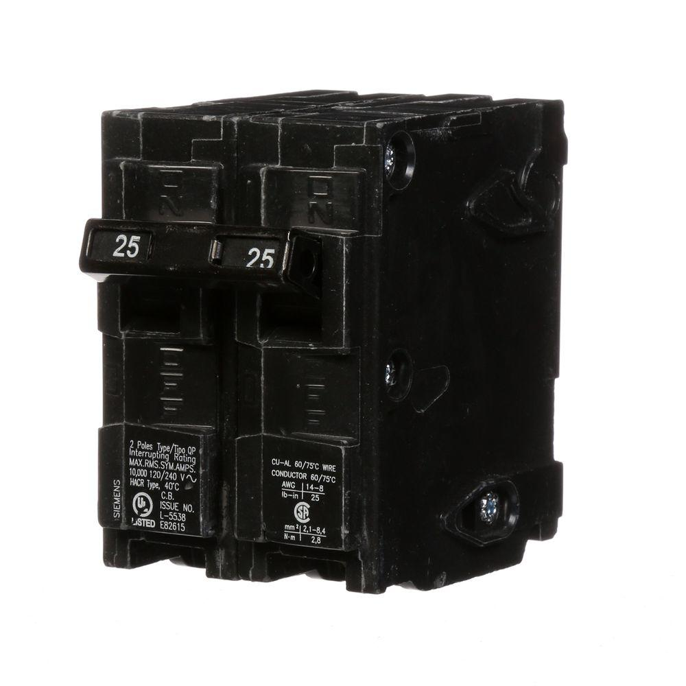 siemens 25 amp double pole type qp circuit breaker q225 the home depot. Black Bedroom Furniture Sets. Home Design Ideas