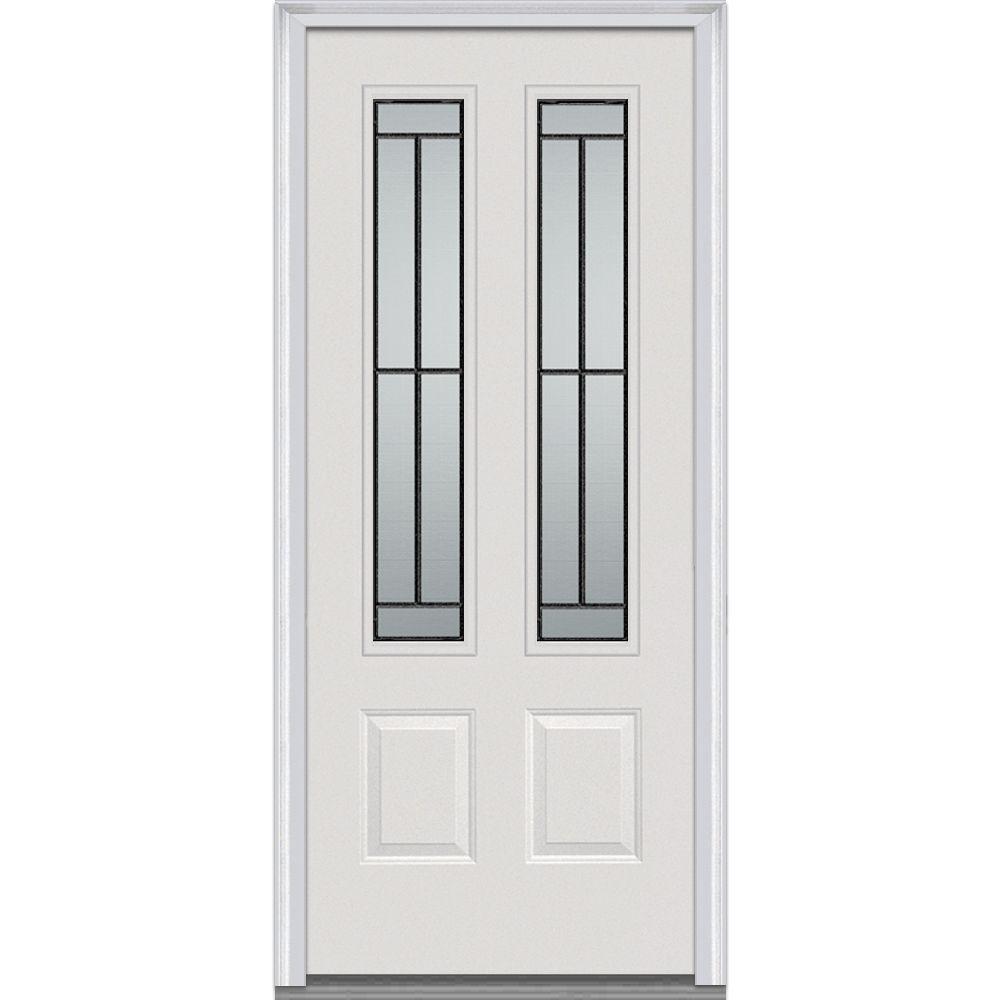 MMI Door 36 in. x 80 in. Madison Left-Hand 2-3/4 Lite 2-Panel Classic Primed Steel Prehung Front Door-Z001681L - The Home Depot  sc 1 st  The Home Depot & MMI Door 36 in. x 80 in. Madison Left-Hand 2-3/4 Lite 2-Panel ... pezcame.com