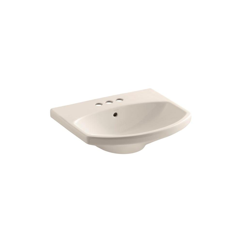 KOHLER Cimarron 3-5/8 in. Pedestal Sink Basin in Innocent Blush-DISCONTINUED
