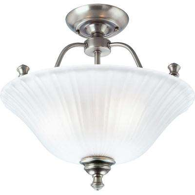 Renovations 15.63 in. 3-Light Antique Nickel Semi-Flushmount