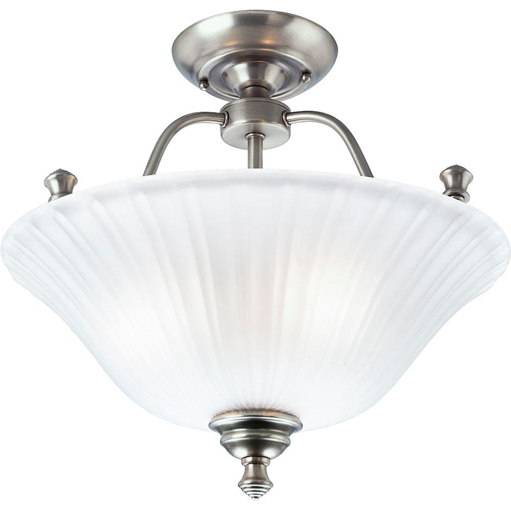 Semi flushmount lights lighting the home depot 3 light antique nickel semi flushmount aloadofball Image collections