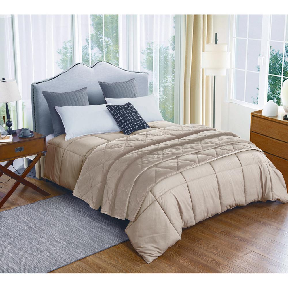 Microfiber Full/Queen Tan Comforter and Velvet Blanket Set