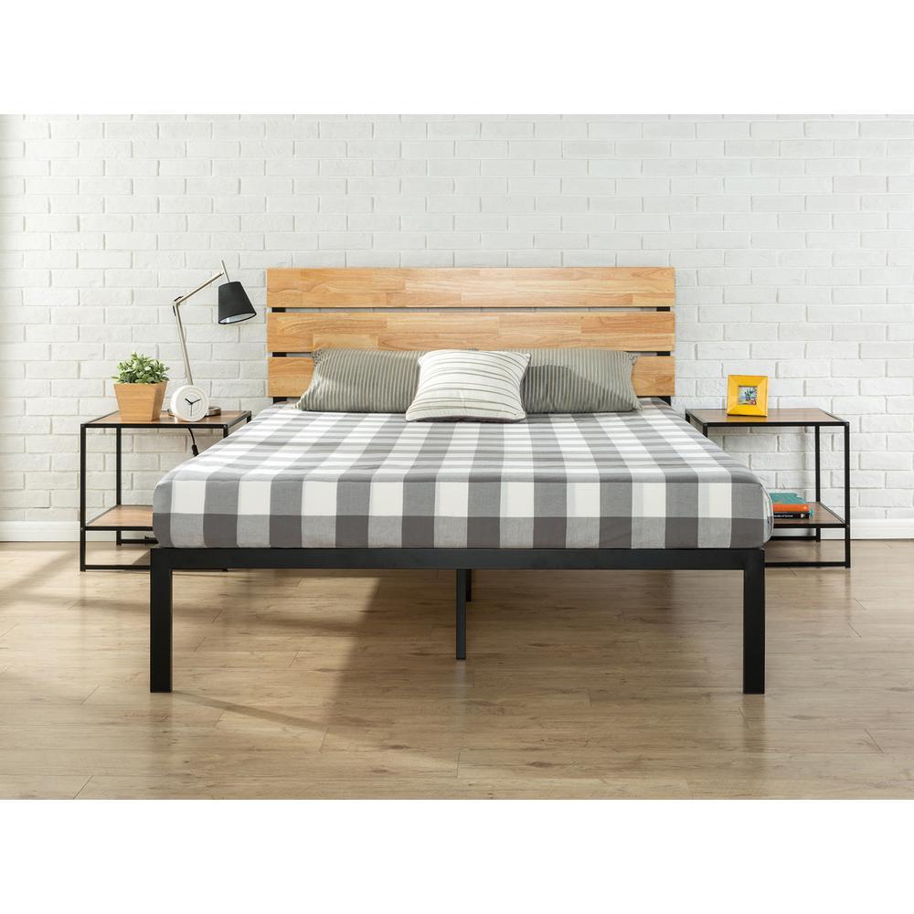 Paul Metal & Wood Platform Bed with Wood Slat Support, King