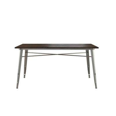 Penelope Antique Gun Metal/Wood Rectangular Dining Table