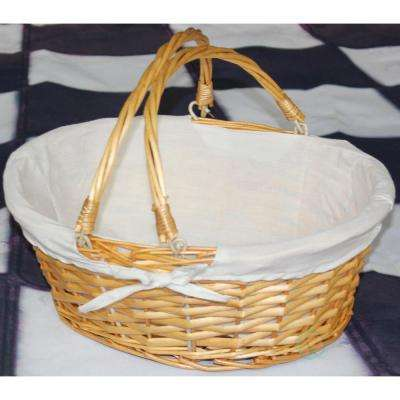 13 in. x 10.25 in. x 4.75 in. Oval Willow Basket with Double Drop Down Handles and White Lining