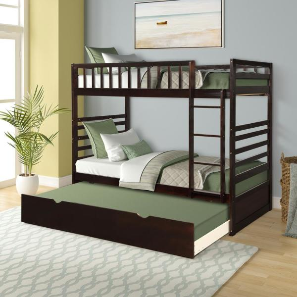 Espresso Twin over Twin Solid Wood Bunk Bed with Trundle