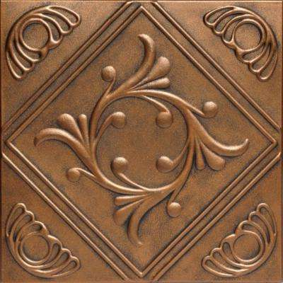 Diamond Wreath 1.6 ft. x 1.6 ft. Foam Glue-up Ceiling Tile in Antique Bronze