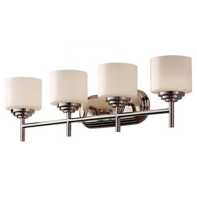 Malibu 30.56 in. W 4-Light Polished Nickel Contemporary Bathroom Vanity Light with Opal Etched Glass Shades