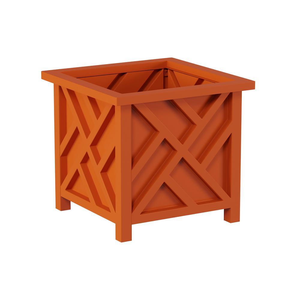 Terracotta Plastic Square Box Planter with Lattice Pattern