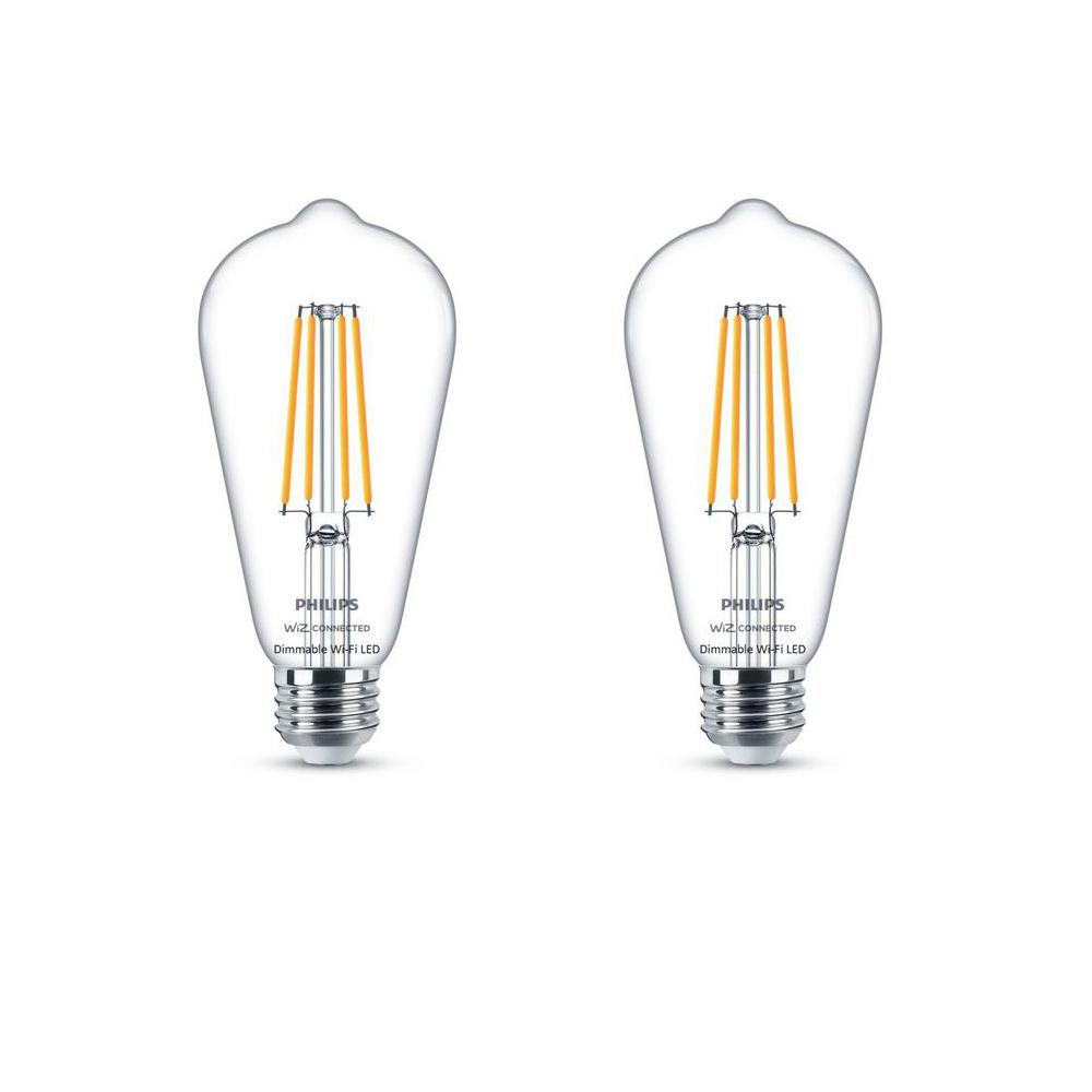 Philips Soft White ST19 LED 40-Watt Equivalent Dimmable Smart Wi-Fi Wiz Connected Wireless Light Bulb (2-Pack)