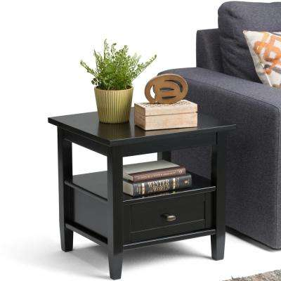 Warm Shaker Black Satin Storage End Table