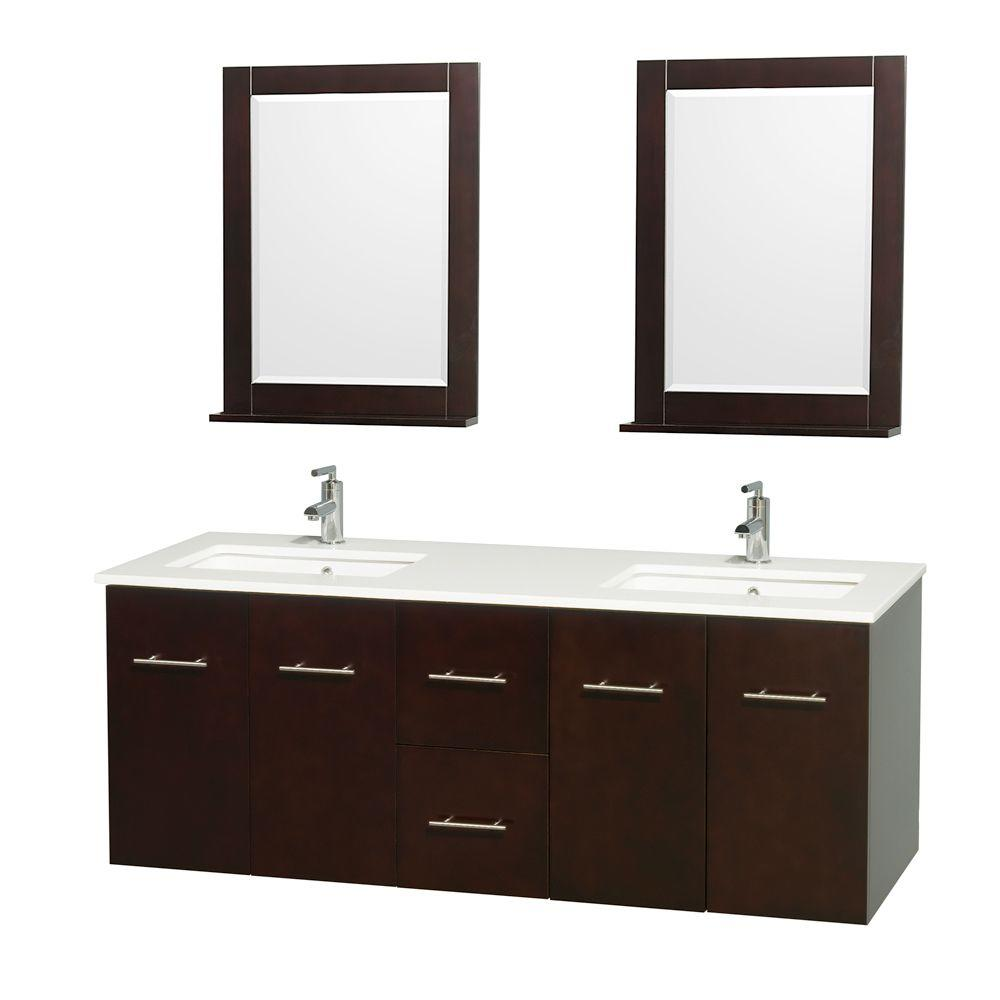 Double Vanity Surface Vanity Top White Square Sink Mirror Sets Image