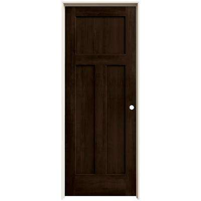 28 in. x 80 in. Craftsman Espresso Stain Left-Hand Solid Core Molded Composite MDF Single Prehung Interior Door