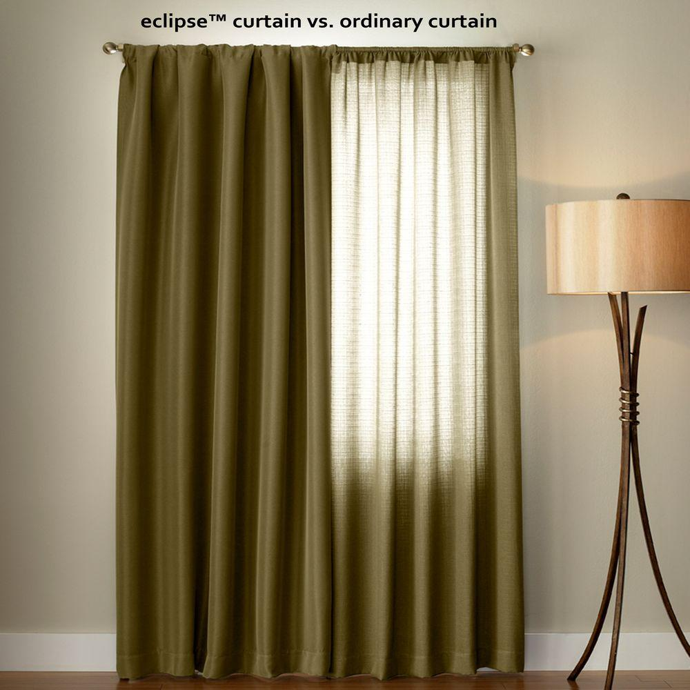 Microfiber Blackout Beige Grommet Curtain Panel, 95 in. Length