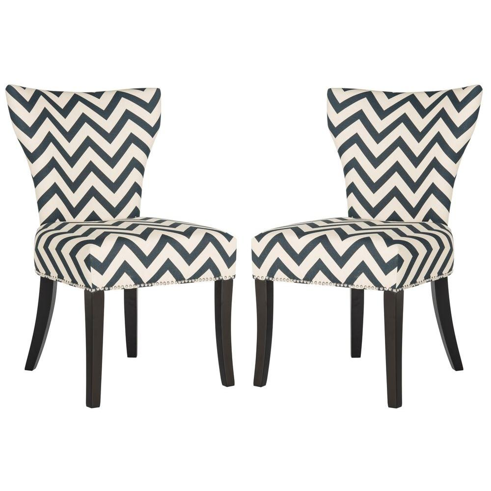 Jappic Navy and White Cotton-Linen Ring Chair (2-Pack), Blue/White/Black