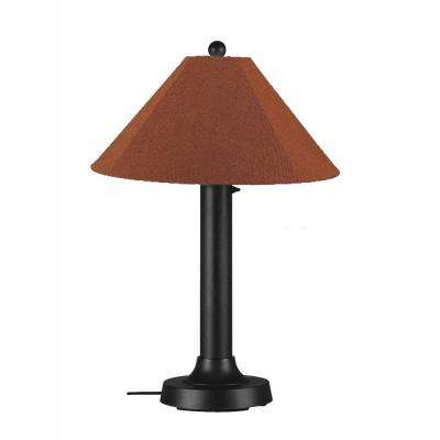 Catalina 34 in. Black Outdoor Table Lamp with Chile Linen Shade