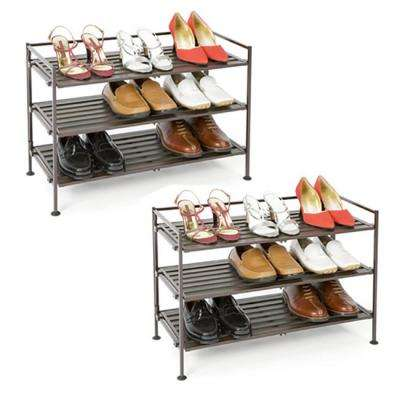 3-Tier Resin Slat Stackable Shoe Rack (2-Pack)