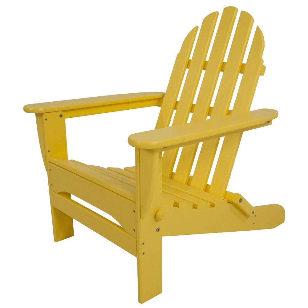 Bon POLYWOOD Classic Lemon Plastic Patio Adirondack Chair AD5030LE   The Home  Depot