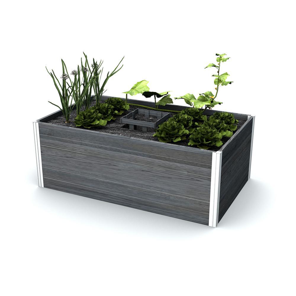 New England Arbors Urbana 60 in. x 36 in. Slate Grey Vinyl Raised Composting Garden