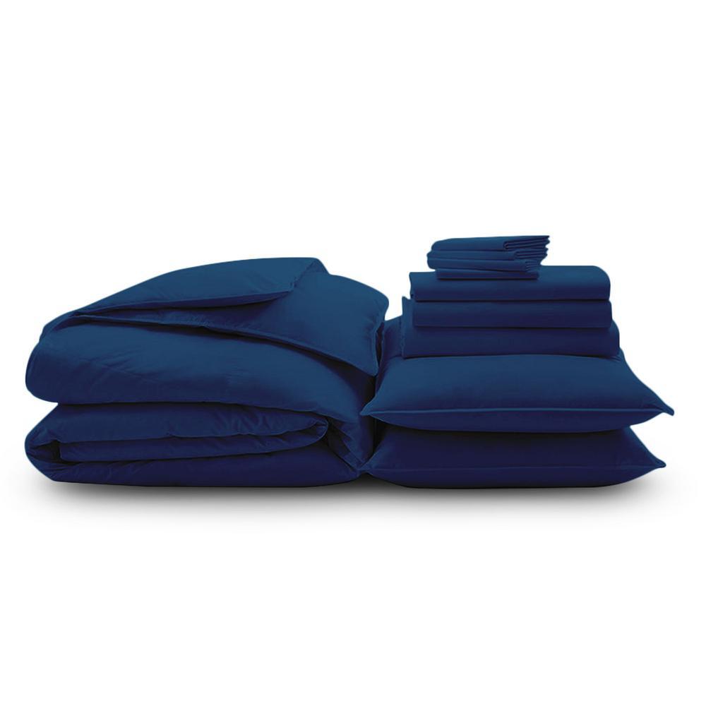 Wrinkle Resistant 10-Piece Navy 300TC Organic Cotton Queen Bedding Bundle