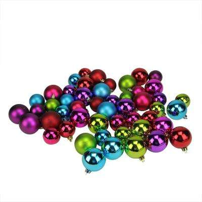1.5 in. - 2 in. Multi-Color Shiny and Matte Shatterproof Christmas Ball Ornaments (50-Count)