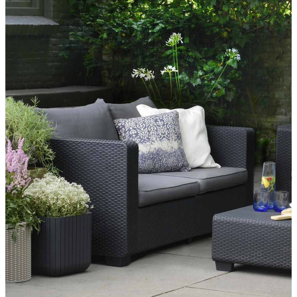 Incredible Details About Keter Graphite Resin Plastic Outdoor Loveseat Flanelle Cushions Patio Furniture Dailytribune Chair Design For Home Dailytribuneorg