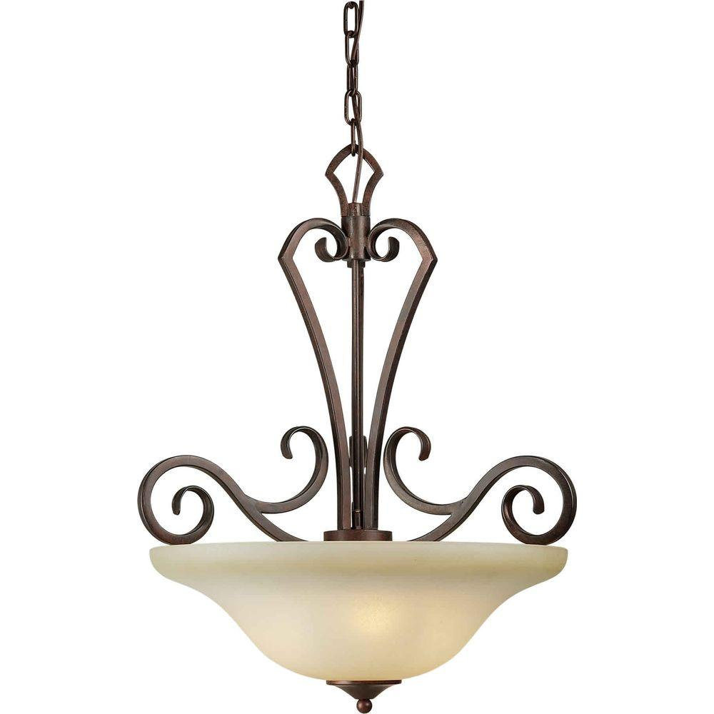 Illumine 3 Light Bowl Pendant Black Cherry Finish Umber Mist Glass-DISCONTINUED