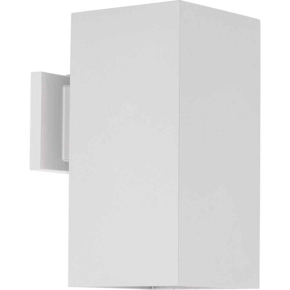 LED Square Cylinder Collection 29-Watt Outdoor White Integrated LED Wall Lantern