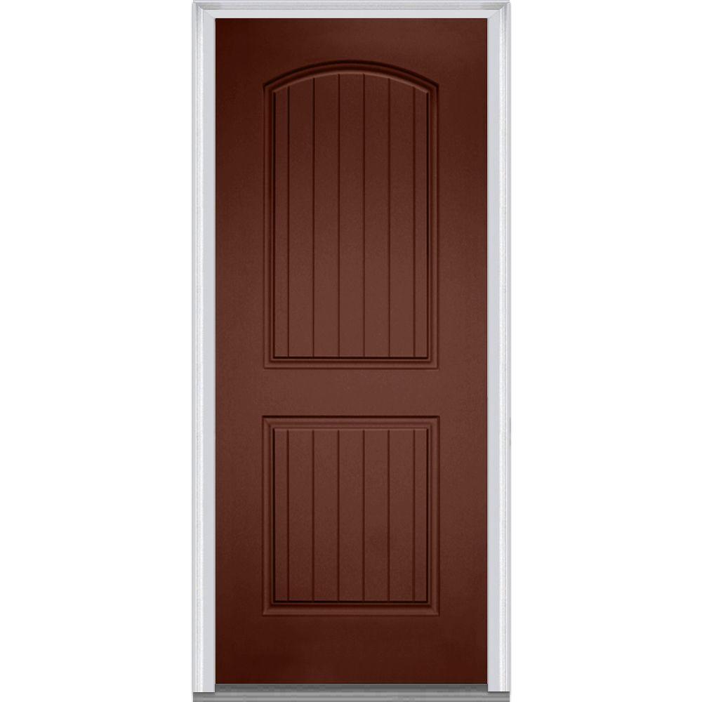 Mmi door 36 in x 80 in right hand inswing 2 panel archtop planked classic painted fiberglass for 36 x 80 fiberglass exterior door