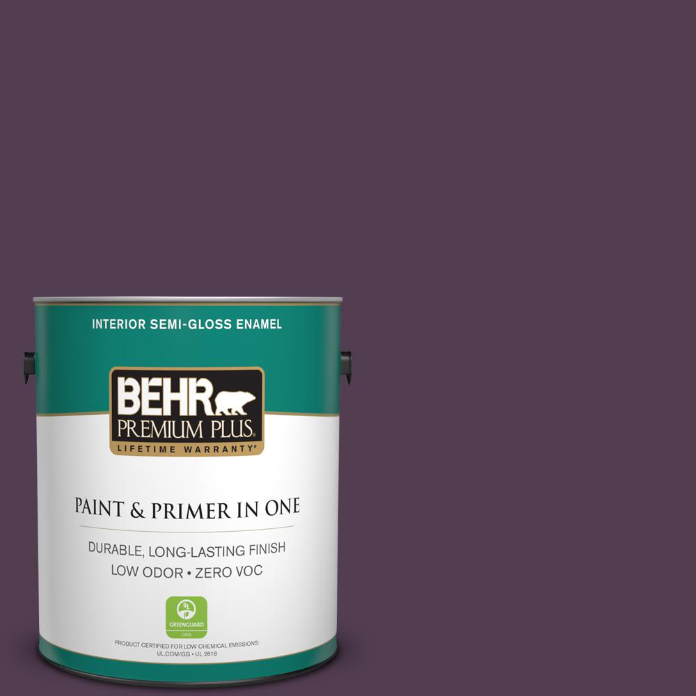 1 gal. #PPU17-02 Oriental Eggplant Zero VOC Semi-Gloss Enamel Interior Paint
