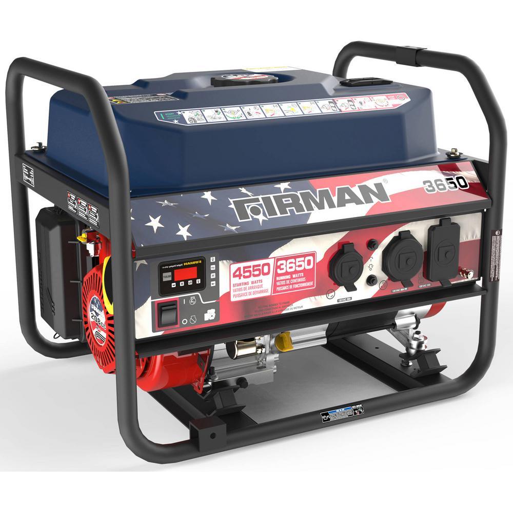 Performance 3650-Watt Gasoline Powered Stars and Stripes Portable Generator with Firman Engine