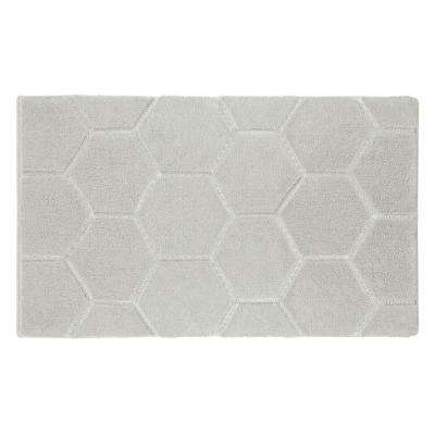 Pearl Honeycomb Cream Puff 17 in. x 24 in. Bath Mat