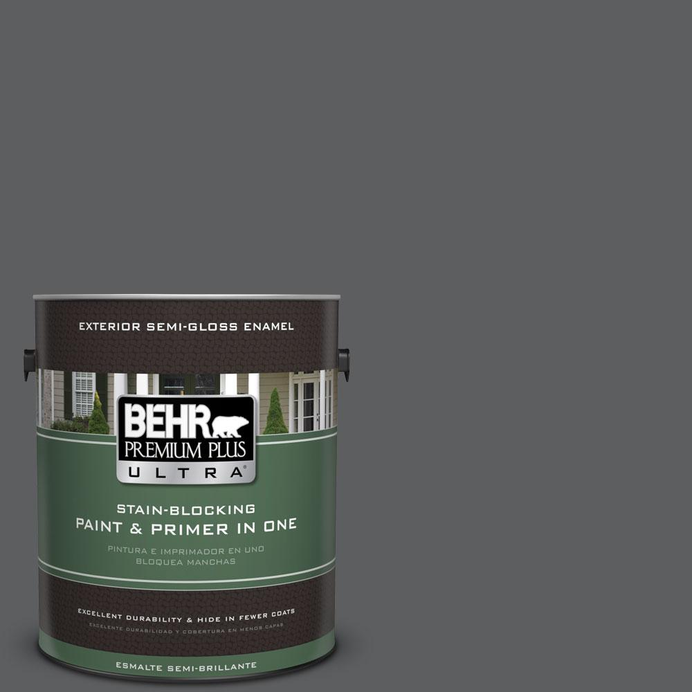 BEHR Premium Plus Ultra 1-gal. #N500-6 Graphic Charcoal Semi-Gloss Enamel Exterior Paint