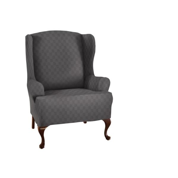 Stretch Grey Newport Wing Chair Slipcover