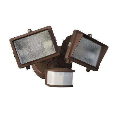 300-Watt 270-Degree Bronze Motion Activated Outdoor Dusk to Dawn Security Flood Light with Twin Head and Bulb