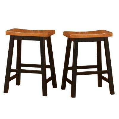 Pomeroy 24 in. Walnut and Black Saddle Stool (Set of 2)