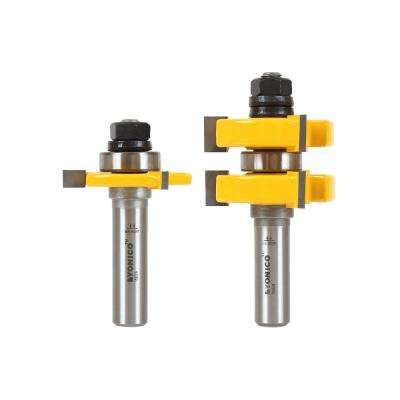 Tongue and Groove up to 1-1/4 in. Stock 1/2 in. Shank Carbide Tipped Router Bit Set (2-Piece)