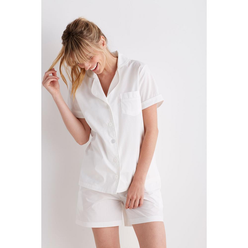 Solid Poplin Cotton Women's Medium White Pajama Short Set