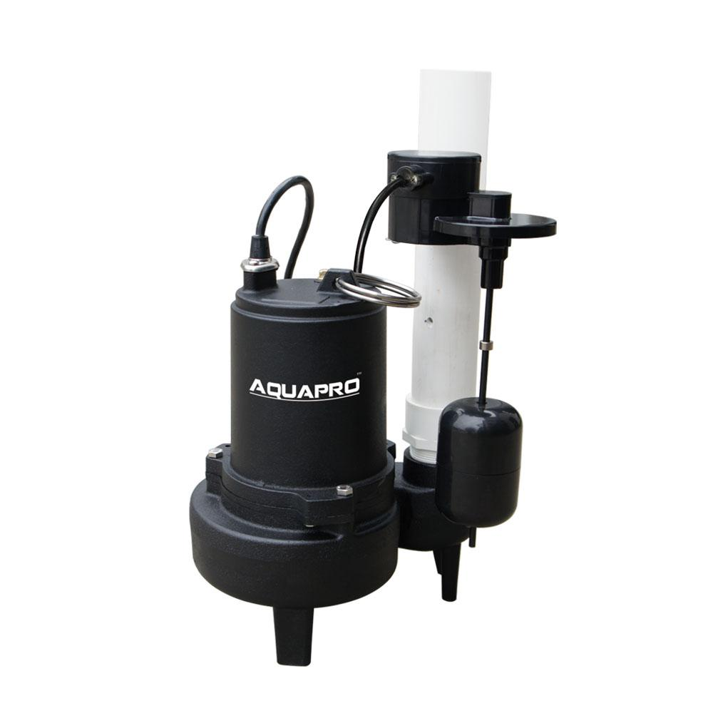 AquaPro AquaPro 1/2 HP Sewage Pump with Piggyback Vertical Float Switch