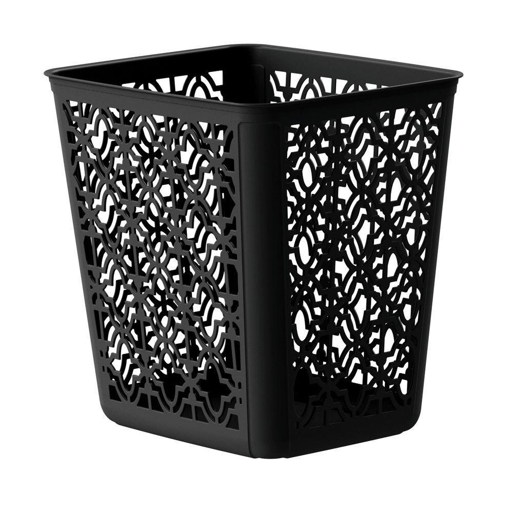 4 Gal. Black Trellis Wastebasket