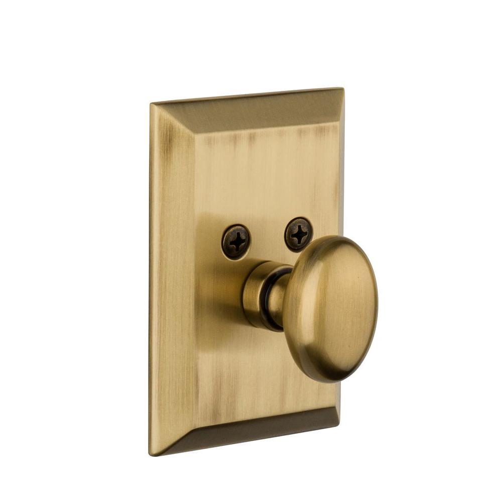 Nostalgic Warehouse Fifth Avenue Vintage Brass Single Cylinder Deadbolt - Keyed Differently