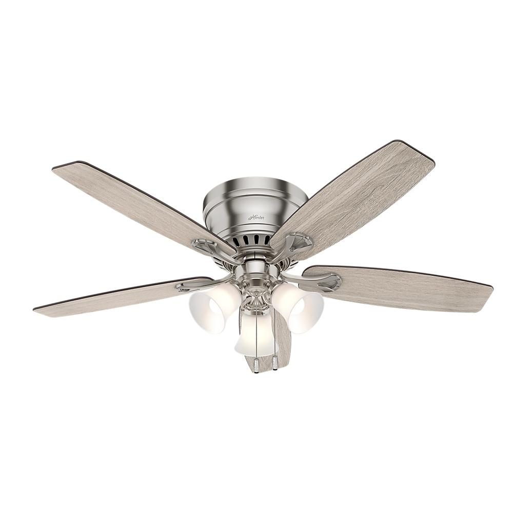 Hunter Oakhurst II 52 in. Low Profile LED Indoor Brushed Nickel Ceiling Fan with Light Kit