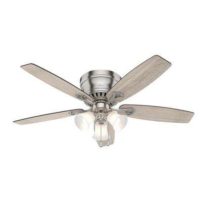 Oakhurst II 52 in. Low Profile LED Indoor Brushed Nickel Ceiling Fan with Light Kit